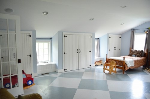 slanted wall storage: Checkered Floors, Idea, Closet Doors, Floors Design, Attic Rooms, Photo, Plywood Floors, Paintings Floors, Kids Rooms