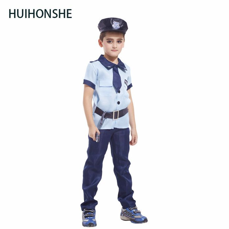 HUIHONSHE New Style Carnival Costume Cosplay Party Clothing for kids knitted boy police costumes blue color Police uniforms #Costume