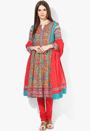 Biba Aqua Blue Printed Churidar Kameez Dupatta Online Shopping Store