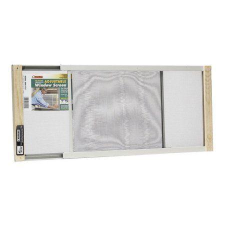 Wood Frame Adjustable Window Screen, 10 inch x 37 inch, Black
