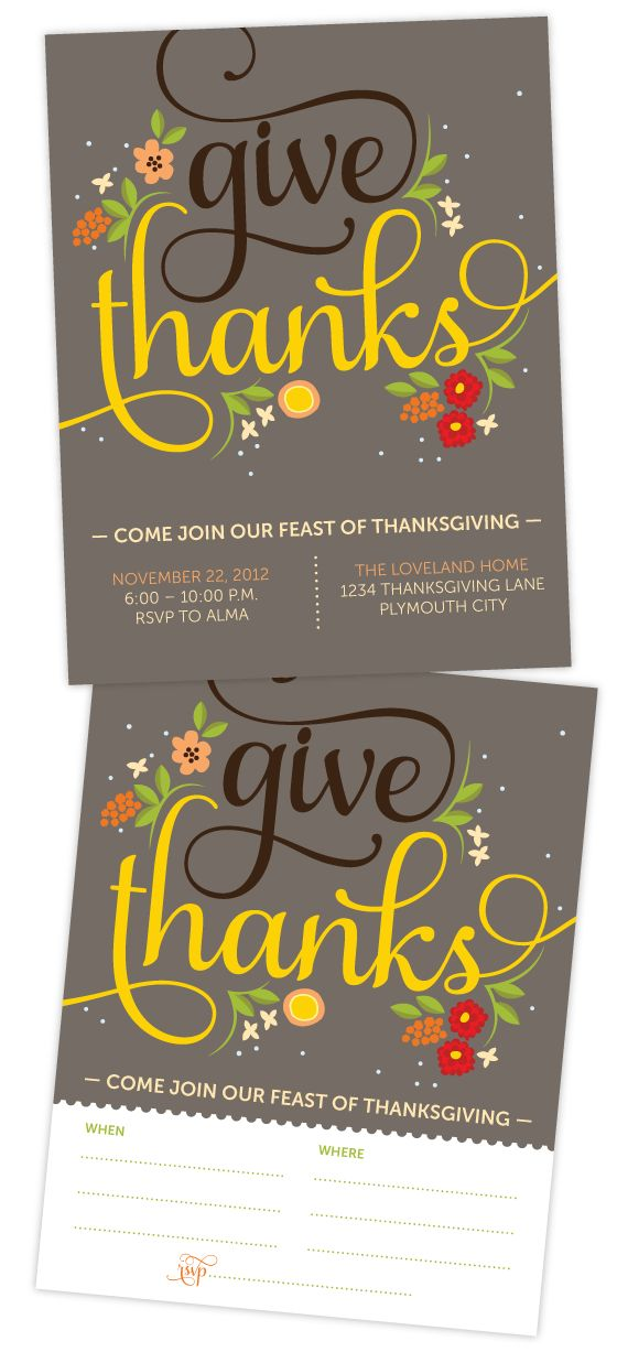"Free ""Give Thanks"" Thanksgiving Dinner Invitation"