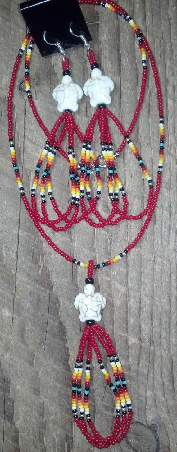 Native American Style Beaded Long Looped Necklace by tredens82