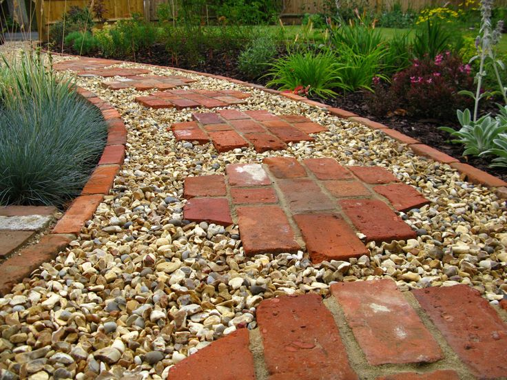 rock path with brick stepping stones