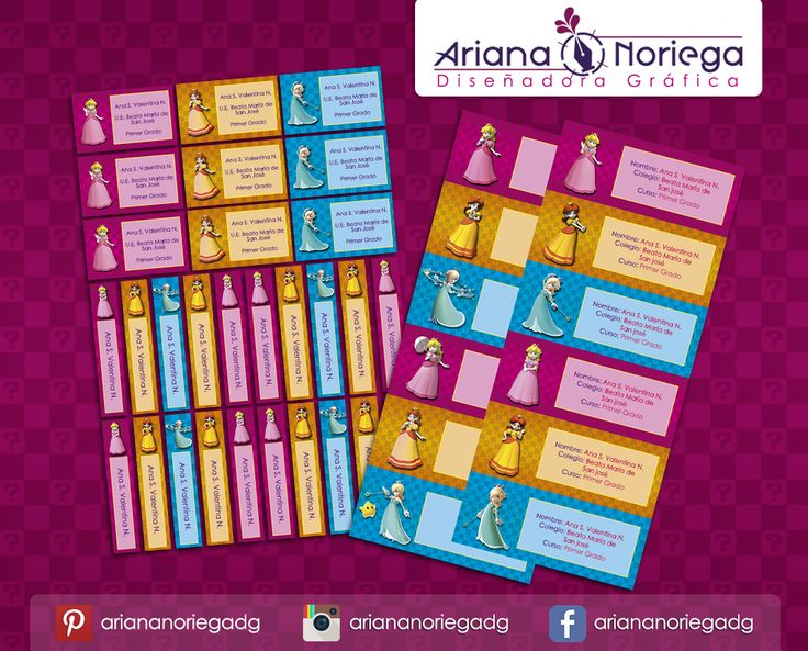 Kit Imprimible de #etiquetas personalizadas con el motivo #Princesss #Peach, #Daisy y #Rosalina. | 3 tamaños: 9 x 3,5 cm, 5 x 1 cm y 5 x 3 cm. |   Personalized and printable #labels pack - #PrincessPeach, #Daisy and #Rosalina.  | 3 sizes: 9 x 3,5 cm, 5 x 1 cm and 5 x 3 cm. |   Tienda/Shop: https://www.etsy.com/es/shop/ArianaDesignStore