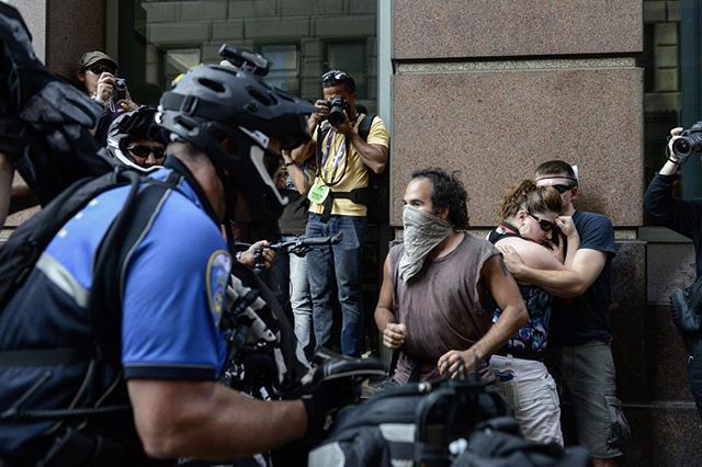 Some tension between anarchist types and cops #rnc #cleveland #america #streetphotography
