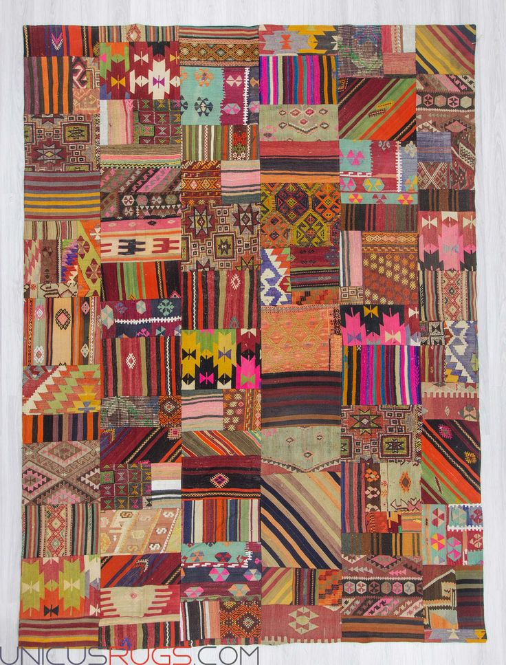 "Decorative colorful kilim patchwork made from handwoven kilim pieces and backed with good quality cotton fabric as reinforcement. In very good condition. Width: 8' 10"" - Length: 12' 2"" PATCHWORKS"
