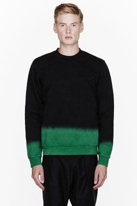 Raf Simons Black & Green Ombre Sweatshirt for men | SSENSE
