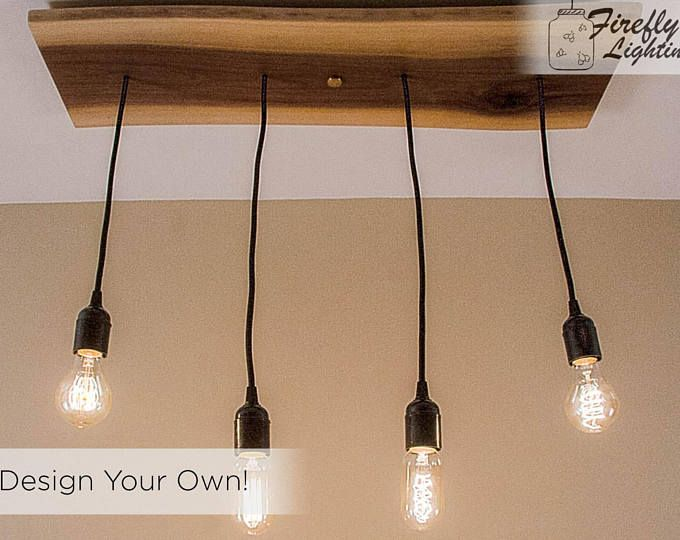 Beautiful Simple 4 Pendant Straight Wooden Hanging Edison Bulb