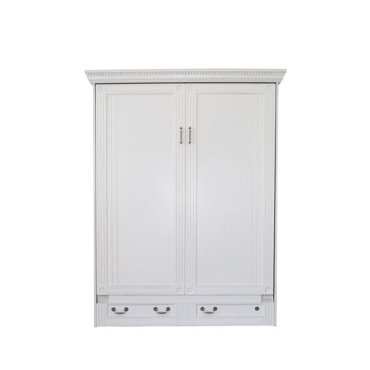The Empire Queen Murphy Bed brings the timeless chic of yester year into the modern day with an exquisitely hand-rubbed antique white finish, and stylish attention to detail with fluted and dentil moldings and crown rosettes. Antique pewter scrollwork and bale handles complete the unique and eclectic character of this exclusive collection. With the Empire Queen Murphy Bed, you can turn an extra bedroom into a home office, exercise room, or craft room, while making ready for guests with a…