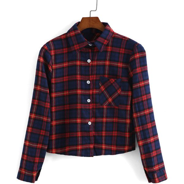 SheIn(sheinside) Red Blue Lapel Long Sleeve Plaid Crop Blouse ($13) ❤ liked on Polyvore featuring tops, blouses, shirts, multi, plaid blouse, blue top, embellished tops, red plaid blouse and red blouse