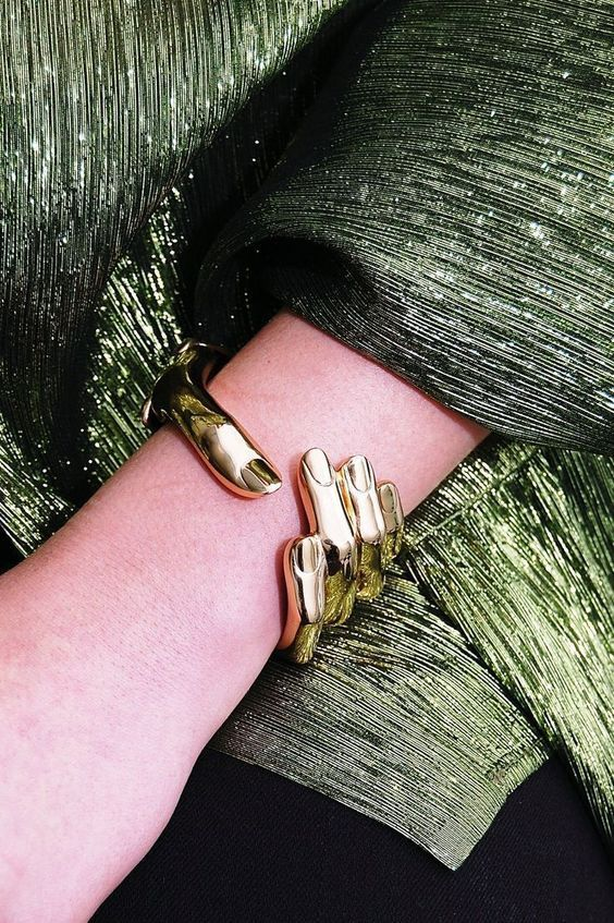 Bernard Delettrez Bronze Hand Cuff Bracelet