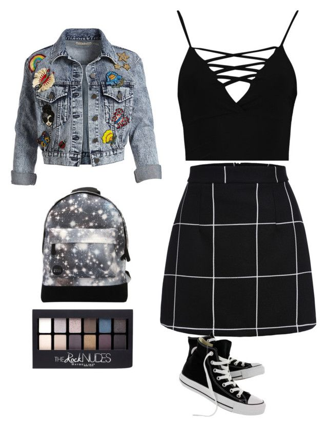 """""""Girly grunge"""" by penkreitto on Polyvore featuring Boohoo, Converse, Mi-Pac, Maybelline and Alice + Olivia"""