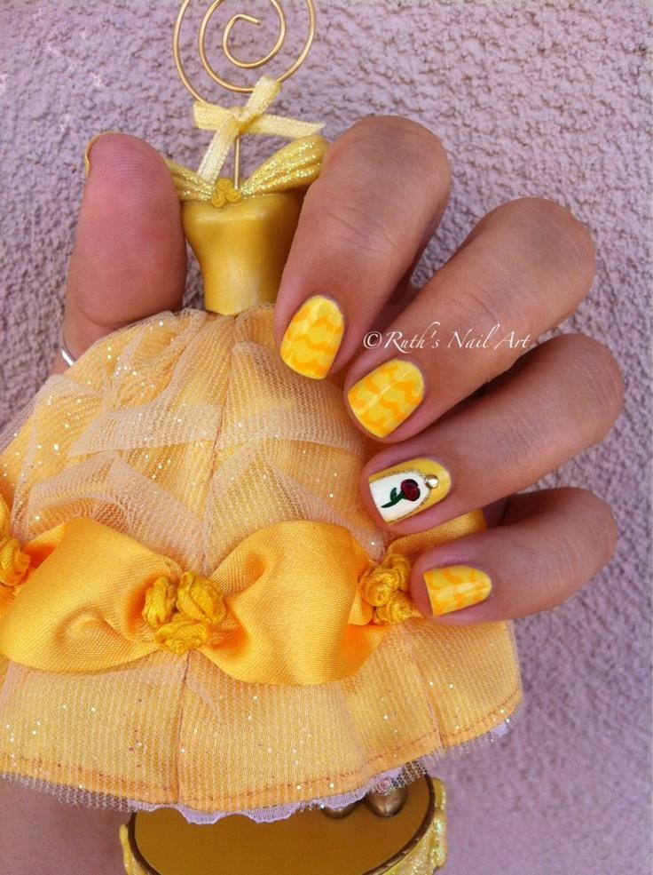 Belle Nails Disney Nailart Ruthsnailart Disney Nails Pinterest Disney Beauty And The