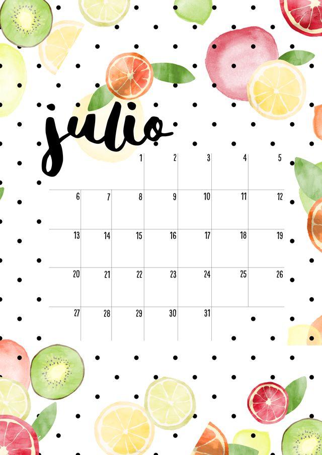 calendario de julio: imprimible y fondo