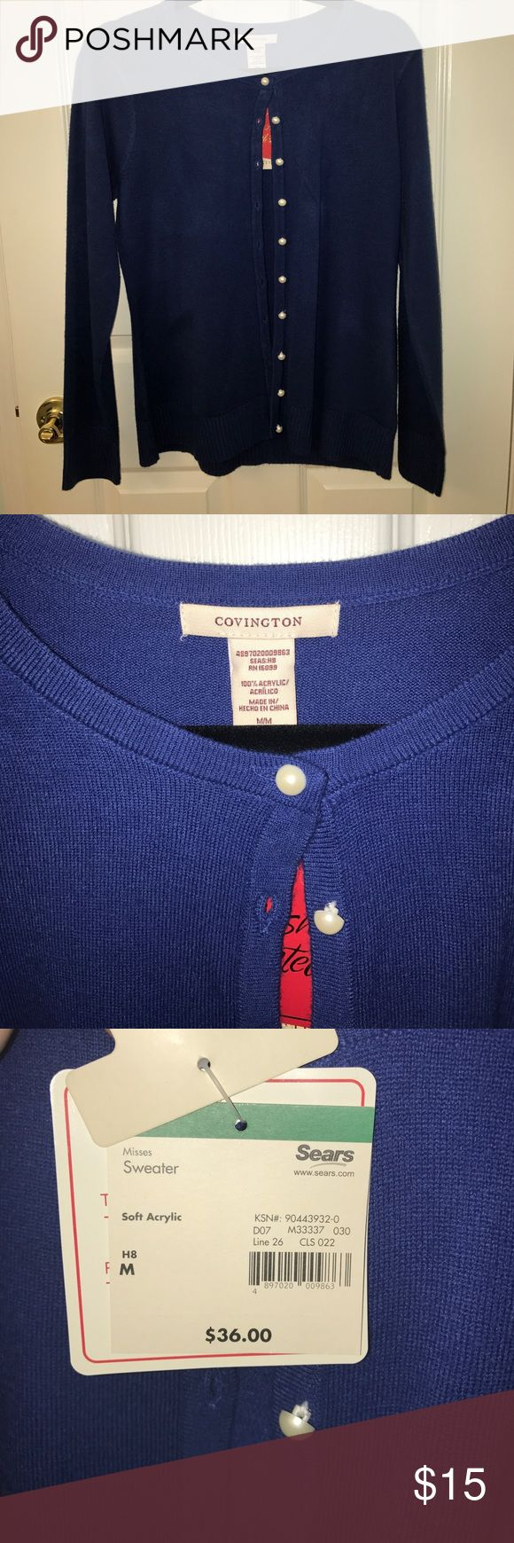 Royal blue cardigan pearl buttons - medium Royal blue cardigan pearl buttons - medium - Covington brand from sears (middle two pictures are most accurate representation of color) Covington Sweaters Cardigans