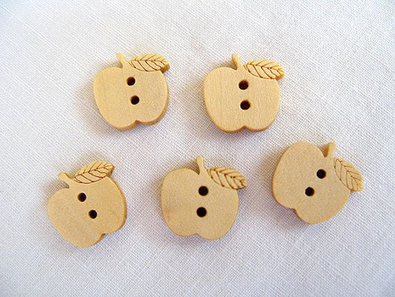 Wooden  Apple Buttons Children Buttons in Natural by nezoshop, $2.60