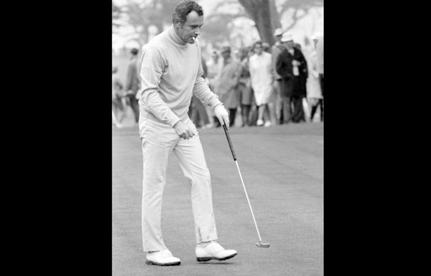Jack Lemmon puffs it out at the Bing Crosby National Pro-Am event in Pebble Beach, California, circa 1970.