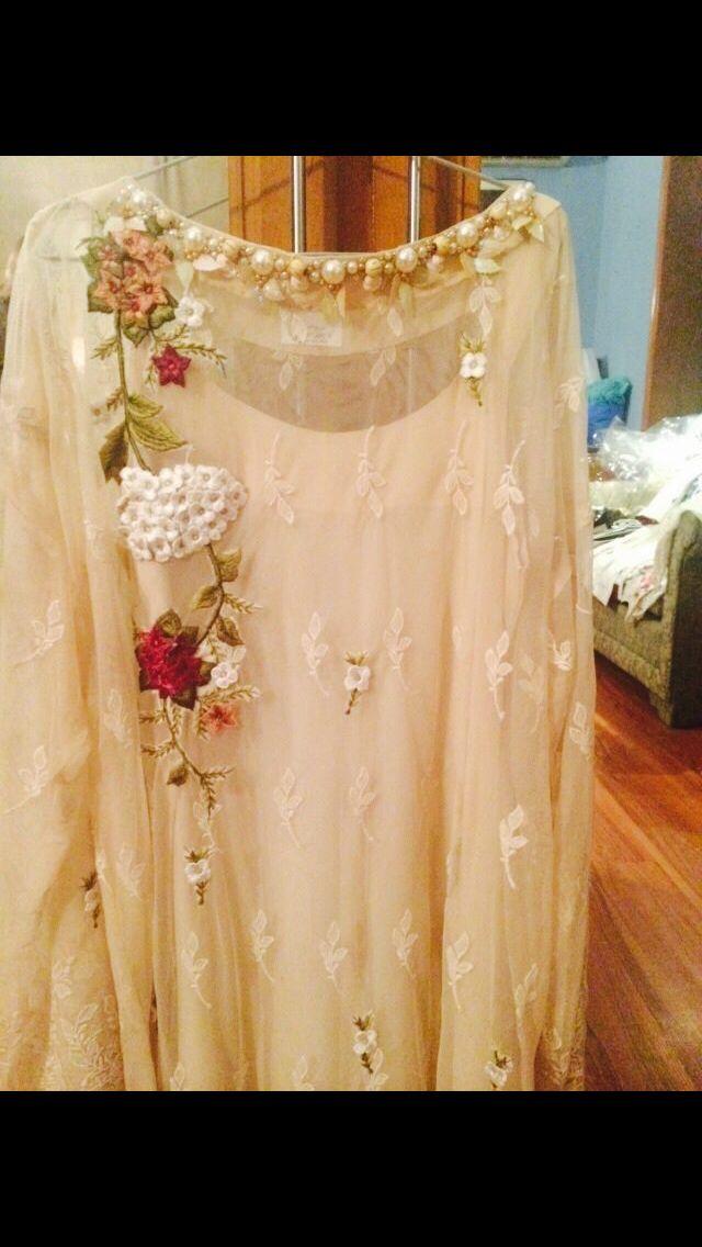 White embroidery lace chiffon multicoloured pakistani