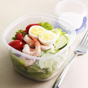 Shrimp Cobb Salad  Cooked peeled shrimp is perfect for quick and healthy meals--here we use it in place of chicken in our simplified Cobb Salad.