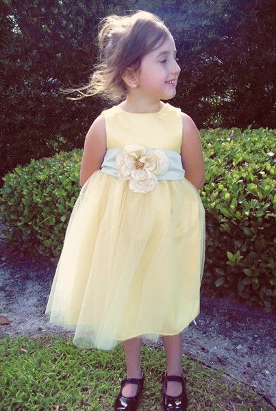 Yellow Flower Girl Dress. Love the style and color. Dislike the huge flower...