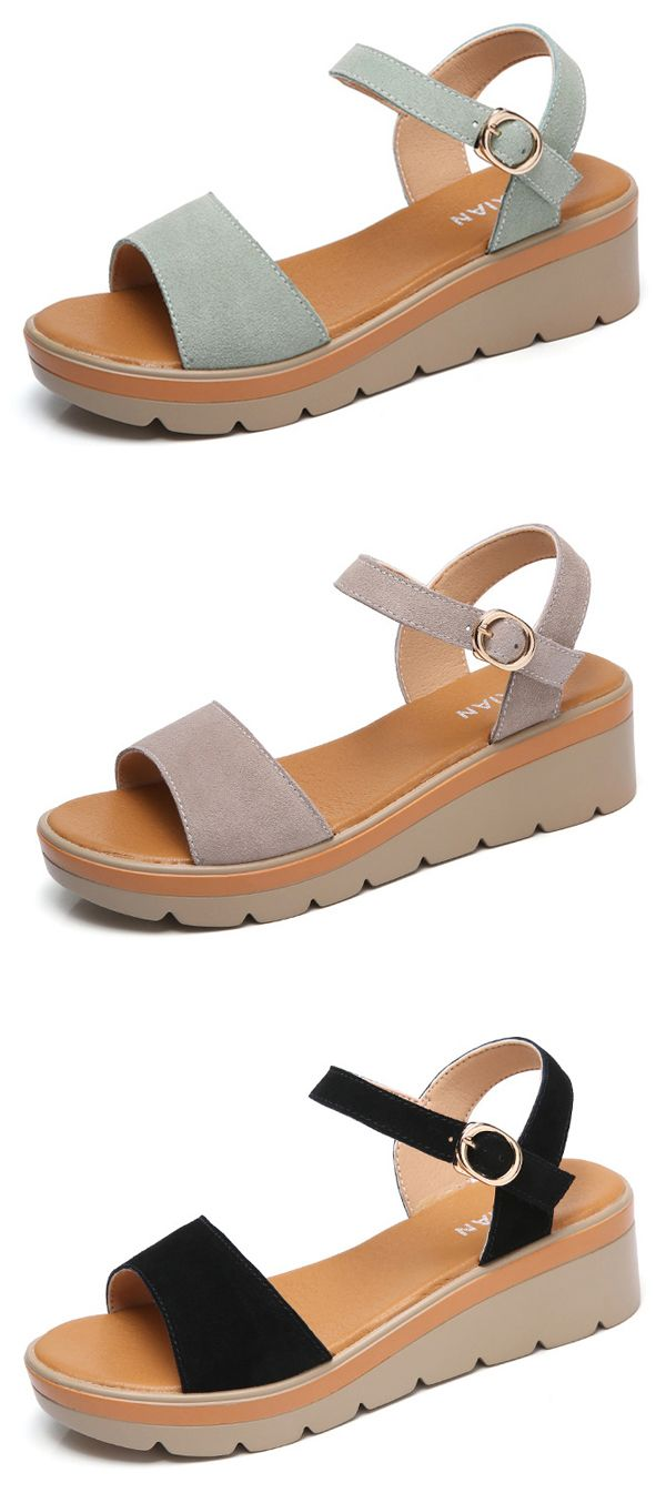cf7dcd43729 US 32.01 Pepp Toe Buckle Wedges Casual Summer Sandals