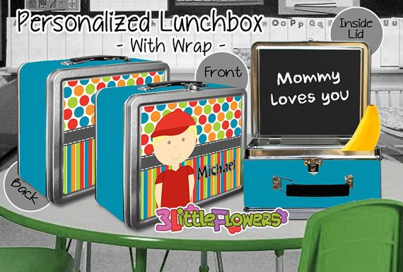 Little Boy Lunchbox - Personalized Metal Lunch Box Chalkboard inside - Double-sided Tin Lunch Box - Choose HAIR SKIN color - Boy Lunch Box