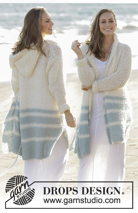 Driftwood DROPS 175-2 - Knitted jacket in garter stitch with stripes and hood in DROPS Melody. Free pattern by DROPS Design