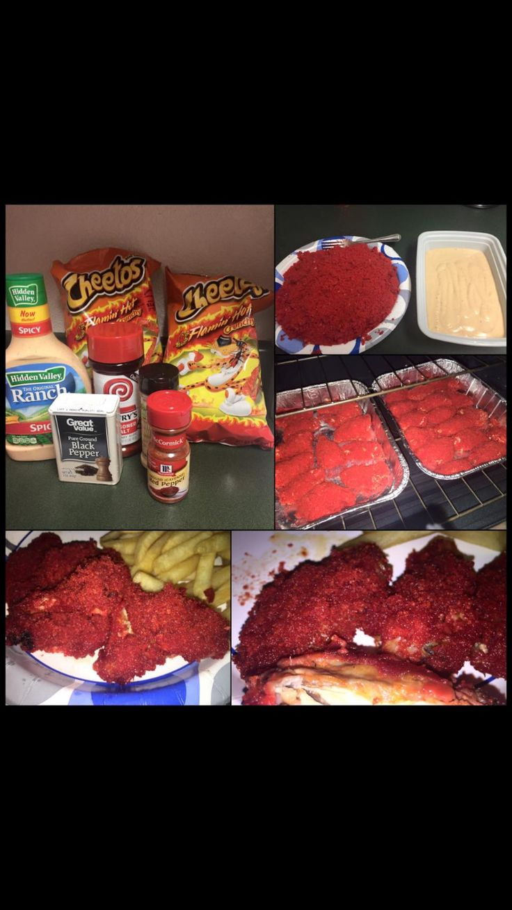 Flaming hot Cheetos chicken wings with spicy ranch.