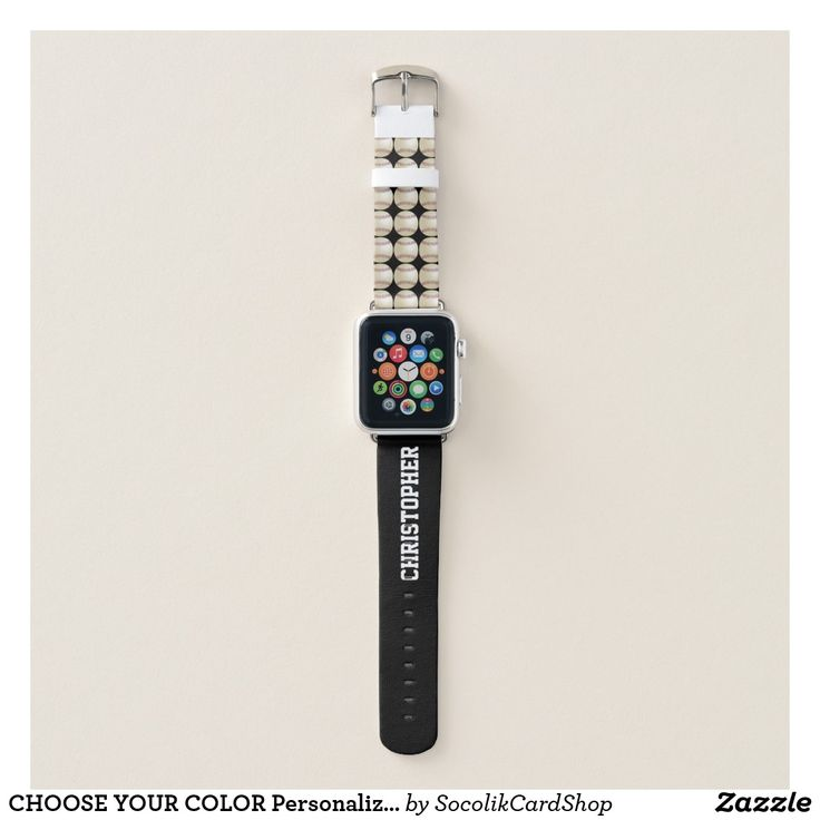 CHOOSE YOUR COLOR Personalized Baseball with Name Apple Watch Band - CHOOSE YOUR COLOR custom Apple Watch Strap! Your name in large white letters on the strap (you can still see name when watch is on). Sample is black, but you can easily customize to color of your choice. Baseballs fill one half of the strap. Easy to change or delete example text. All Rights Reserved © 2017 Alan & Marcia Socolik.