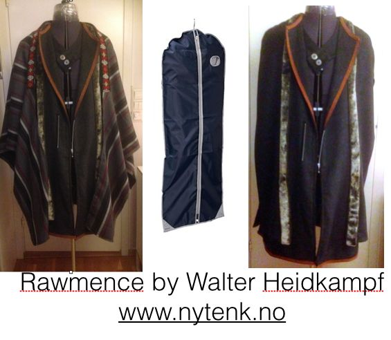 """Cape made by an idea from a dress protecting item. To the left a striped scarf added.  Rawmence 2104 by Walter Heidkampf  Top 3 in the sewing competition """"Det store symesterskapet"""" 2014 NRK 1.   www.nytenk.no"""