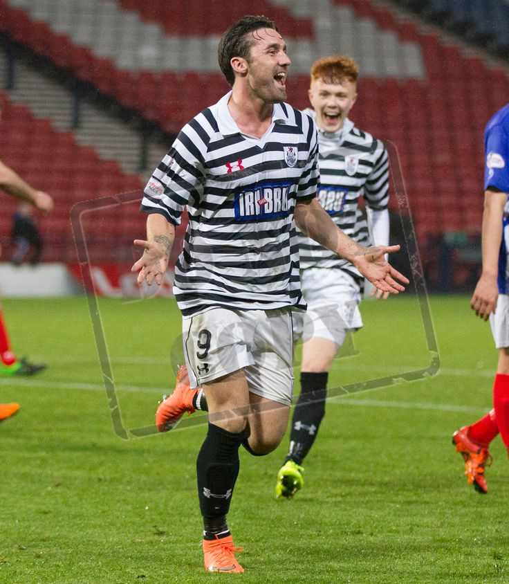 Queen's Park's Chris Duggan celebrates his second goal during the SPFL League One play off game between Queen's Park and Cowdenbeath.