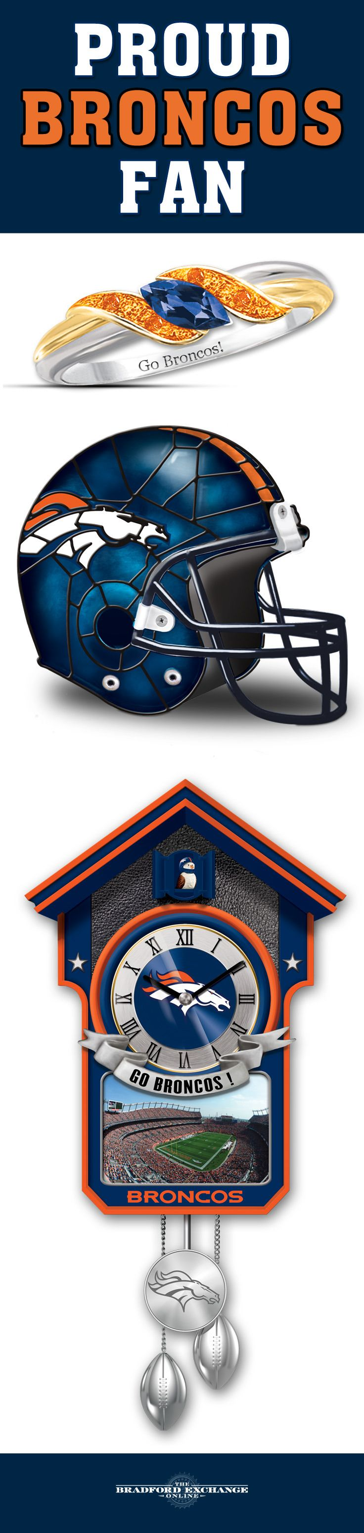 Go Broncos! It's easy to show off your team pride in whatever you do and wherever you go with our roster of NFL-licensed Denver Broncos jewelry, home decor and collectibles.