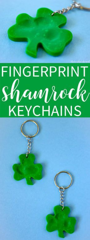 Keep your lucky charms with you on the go with these simple and easy Shamrock fingerprint keychains. Perfect for dads and grandpas!