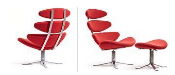 POUL M. VOLTHER 1923 - 2001  Lenestol med skammel ''Corona'', Erik Jørgensen. Formgitt 1958, nyere produksjon. Trukket i rødt ullstoff med understell matt stål.