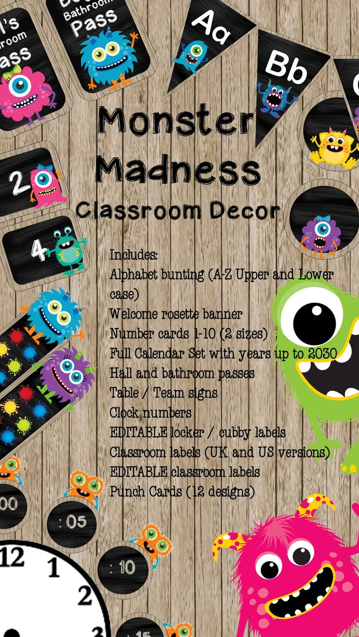 This fun monster madness class decor set would be perfect for a classroom of lively young learners and a great back to school welcome.