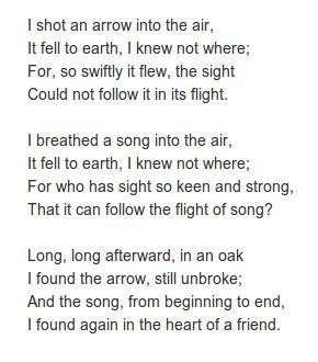 The Arrow and the Song by Henry Wadsworth Longfellow. http://annabelchaffer.com/