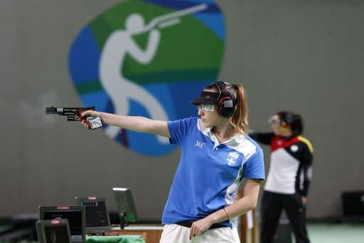 Anna Korakaki of Greece, competes during the women's 25-meter pistol gold medal…
