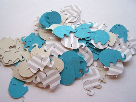 100 Gray Chevron Turquoise Elephant Confetti, Elephant Cut Out, Elephant Die Cut, Elephant Baby Shower, Elephant Theme