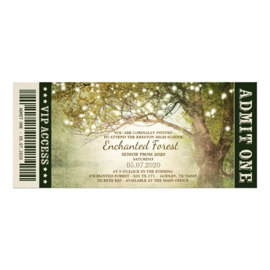 Enchanted Forest String Lights Prom Tickets Invitation