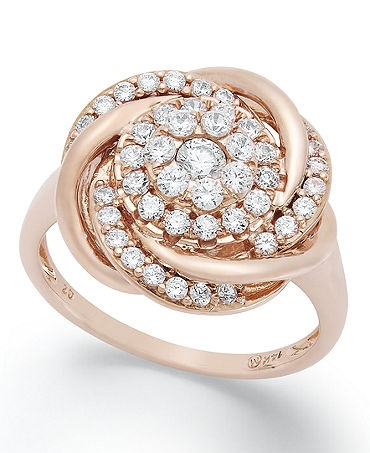 Swirls of pave-set perfection adorn Wrapped in Love's stunning knot ring. Crafted in 14k rose gold with an array of round-cut diamonds (3/4 ct. t.w.). | 3/4 Carat Diamond Ring | Diamond Color Rating C