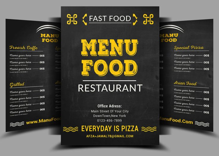 9 Best Food Menu Images On Pinterest Free Flyer Templates Free