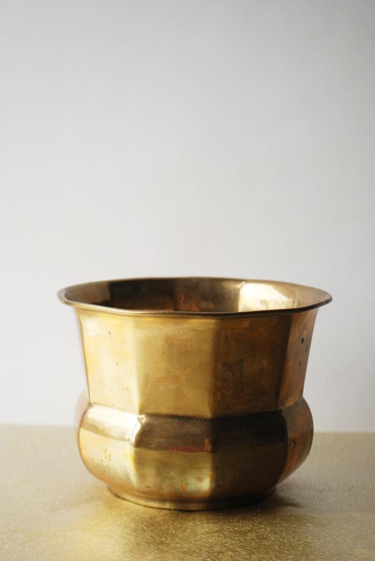 Vintage Brass Planter Vase, Bowl, Vintage, Faceted
