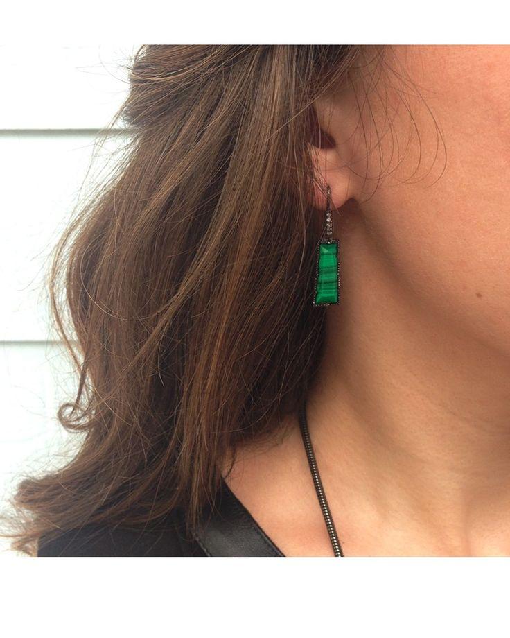 Angie Drop Earrings in Green Malachite - Kendra Scott Jewelry.