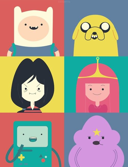 Hora de aventura.  Finn.  Jake.  Marceline.  Dulce princesa.  BMO.  Princesa Grumosa.