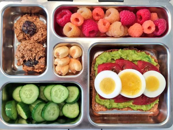 Avocado Egg Tomato Toast, raspberries, Breakfast cookies, cucumbers, peruvian corn - School Lunch Inspiration from Weelicious.com