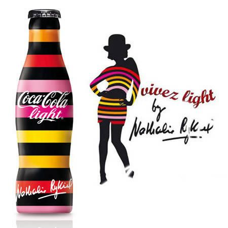 Coca-Cola bottles designed by Nathalie Rykiel, daughter of famous fashion designer Sonia Rykiel, in France 2008
