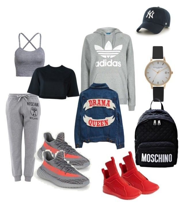 """OOTD DANCE!!!!!!"" by madisonkiss on Polyvore featuring '47 Brand, Moschino, NIKE, Puma, Olivia Burton and adidas"