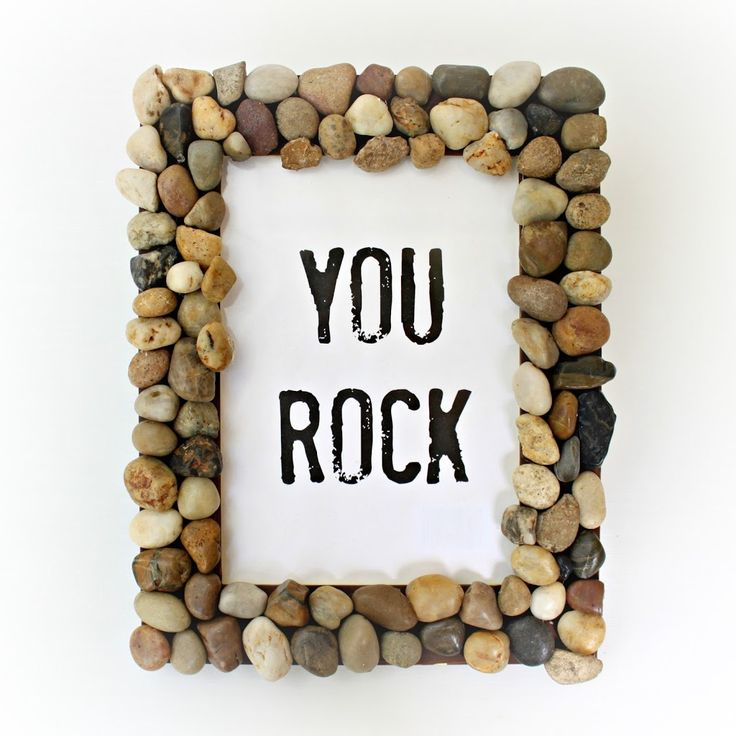 For this rocky picture frame, all you need is an old frame and some polished rocks (or rocks from the yard).