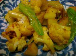 Curried Cauliflower, Japanese Yam and Potatoes