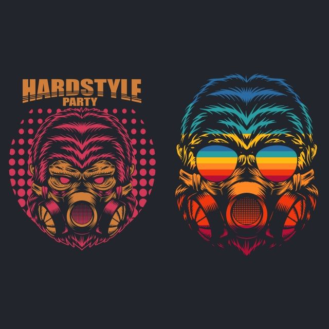 Gorilla Mask Retro Hard Party Vector Illustration 80s Animal Ape Png And Vector With Transparent Background For Free Download Vector Illustration Gorilla Mask Font Illustration